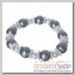 Браслет жемчуг Бусинка, цвет серый в серебре - бижутерия