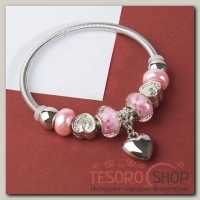 Браслет ассорти Марджери, подвеска МИКС, цвет розовый в серебре - бижутерия