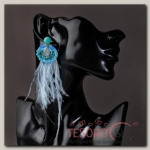 Серьги перья Мираж хрусталики, цвет светло-голубой - бижутерия