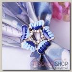 """Кольцо для платка """"Незабудка"""", цвет сине-голубой в матовом золоте"""