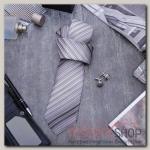 Набор мужской Стиль галстук 145x5см, запонки, линии, цвет серый - бижутерия