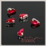 Стразы в цапах (набор 5 шт), 6x10мм, цвет красный в серебре