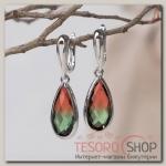 Серьги с кристаллами Иллюзион капля в огранке, цвет красно-зелёный в серебре - бижутерия