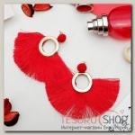 Серьги Кисти арабика, круг, цвет красный в золоте - бижутерия