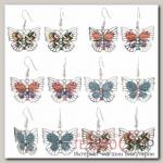 Серьги эмаль Бабочка ажур, цвет МИКС - бижутерия