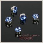 Стразы в цапах (набор 5 шт), 6x6мм, цвет голубой в серебре