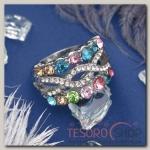 Кольцо Узор переплетение, цветное в серебре, размер 16,17,18 МИКС