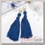 Серьги Кисти изыск, двойное плетение, цвет бело-синий в золоте - бижутерия