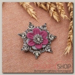 """Брошь """"Хризантема"""", цвет серо-розовый в серебре"""