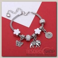 """Браслет ассорти """"Марджери"""" символы удачи, цвет белый в серебре - бижутерия"""