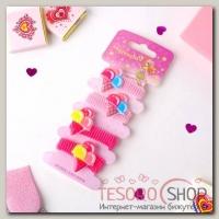 Резинка для волос Весёлый глянец (набор 4 шт) пломбир, розовый - бижутерия
