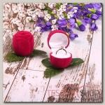 Футляр под кольцо Роза малая 4x4x4,5, цвет малиновый - бижутерия