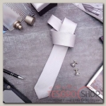"""Набор мужской """"Премьер"""" галстук 145x5см, запонки, тонкая полоска, цвет серый - бижутерия"""