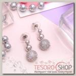 Серьги с кристаллами Элеганс трио, цвет белый в серебре - бижутерия