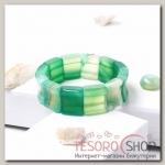 Браслет пластина вогнутая Агат, цвет зеленый - бижутерия
