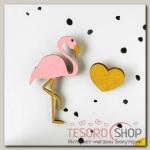 Набор брошей Фламинго с сердцем