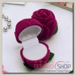 Футляр под кольцо Роза малая 4x4x5см, цвет розовый - бижутерия
