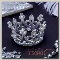 "Диадема для волос ""Королева"" 5,5x3,5 см, корона - бижутерия"
