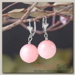 Серьги шар №16 Агат розовый - бижутерия