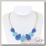 Колье Капли, цвет сине-голубой в золоте - бижутерия