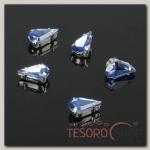 Стразы в цапах (набор 5 шт), 6x10мм, цвет голубой в серебре