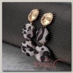 Серьги Сафари леопард, цвет чёрно-серый в золоте - бижутерия