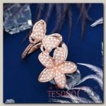 Кольцо Бабочка с цветком, размер 17, цвет белый в золоте