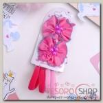 Набор для волос Карапулька (2 зажима,4 резинки) бусинки кантик, розовый - бижутерия