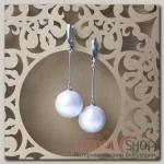 Серьги Жемчуг хлопковый шар №18, цвет белый - бижутерия