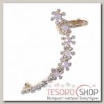 Серьга Каффа ромашка, цвет бело-розовый в золоте - бижутерия