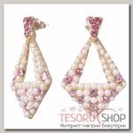 Серьги с жемчугом Радужные ромб, цвет розово-белый в золоте - бижутерия