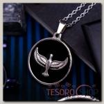Кулон мужской Стальной орёл в круге, цвет чёрный в серебре, 45 см - бижутерия