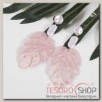 Серьги ассорти Лепесток, цвет розово-белый - бижутерия