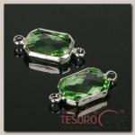 Коннектор (набор 4 шт), 10x14мм, цвет светло-зеленый в серебре