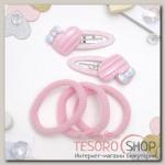 Набор для волос Мусечка (2 невидимки, 3 резинки) сердечки бантики, розовый - бижутерия