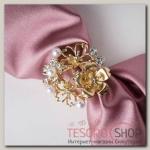 Кольцо для платка Цветы, цвет белый в золоте