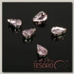 Стразы в цапах (набор 5 шт), 6x10мм, цвет розовый в серебре