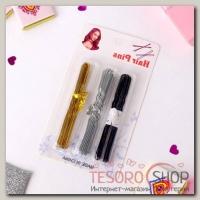 Шпилька для волос (набор 30 шт) 8 см, 3 цвета - бижутерия