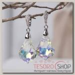 Серьги с кристаллами Иллюзион капля с узором, цвет радужный в серебре - бижутерия