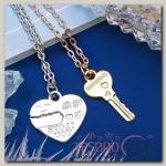 Кулон Неразлучники, ключик от сердца, цвет МИКС, 45 см - бижутерия