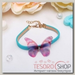 Браслет кожа Butterfly, цвет голубой - бижутерия
