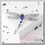 Брошь Стрекоза хвостик подвижный, цвет бело-синий в серебре