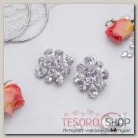 """Серьги с кристаллами """"Элит"""" цветок, цвет белый в серебре - бижутерия"""