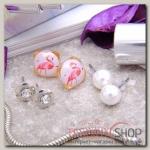 Пусеты 3 пары Фламинго в сердце, цвет бело-розовый в серебре - бижутерия