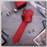 """Набор мужской """"Премьер"""" галстук145x5см, запонки, цвет красный - бижутерия"""