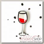 Брошь деревянная Бокал вина, цвет белый