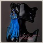 Серьги перья Мираж круг, цвет синий - бижутерия