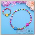 Набор детский Выбражулька 2 предмета: колье, браслет, круглые спиральки, цвет МИКС - бижутерия