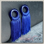 Серьги Кисти танго, цвет ярко-синий, L кисти 6 см - бижутерия