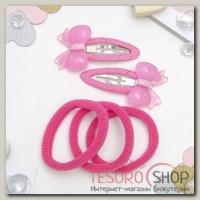 Набор для волос Карамелька (2 невидимки, 3 резинки) бантики, розовый - бижутерия